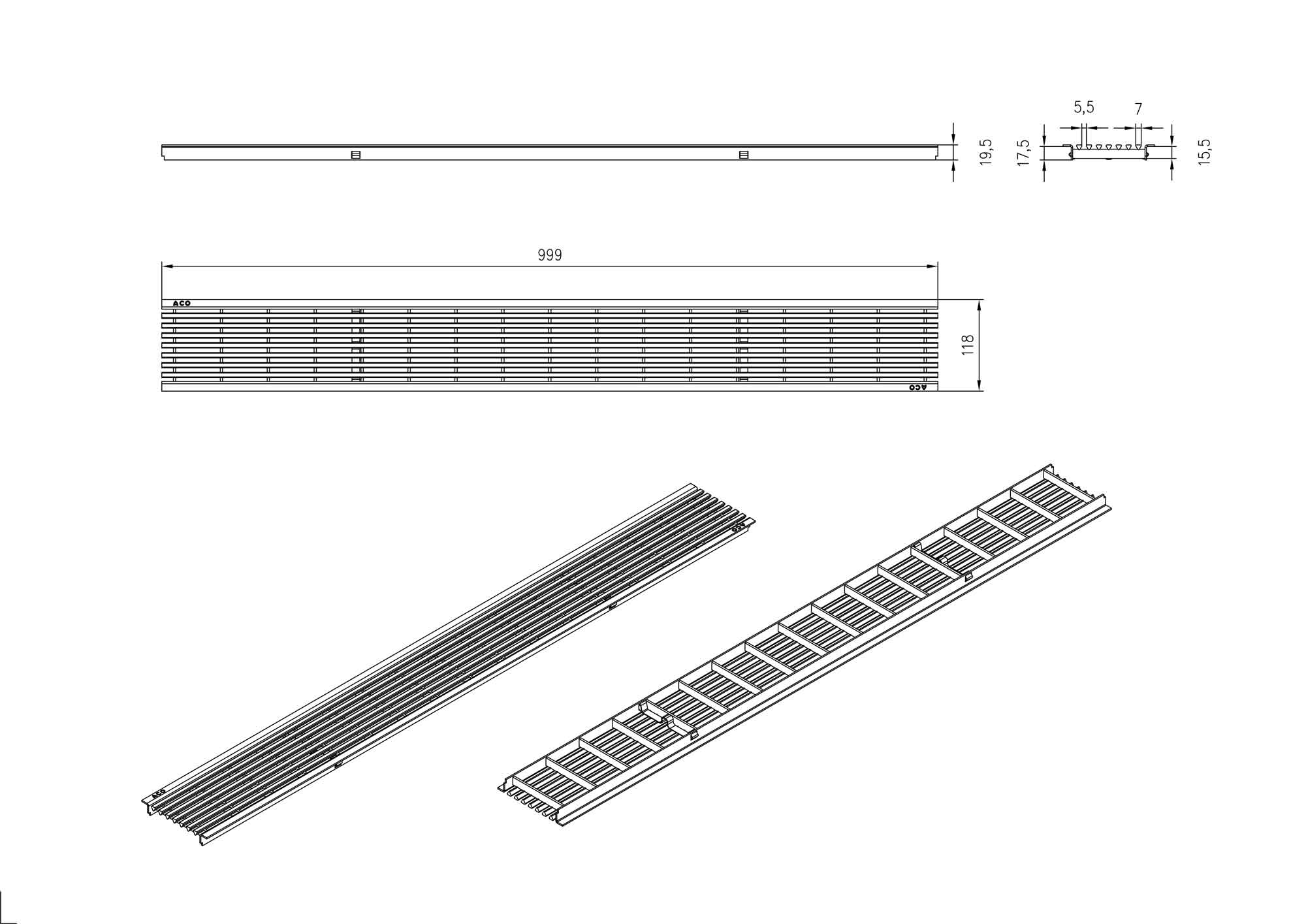 aco self rost l ngsstabrost edelstahl 100cm xanie eu. Black Bedroom Furniture Sets. Home Design Ideas
