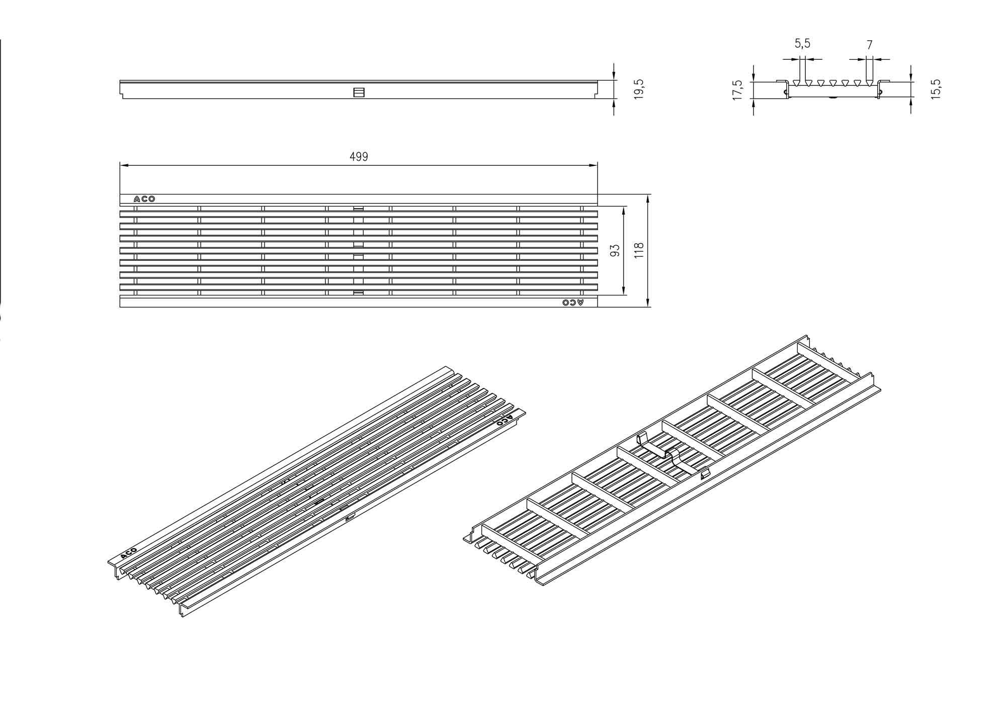 aco self rost l ngsstabrost 50cm ebay. Black Bedroom Furniture Sets. Home Design Ideas