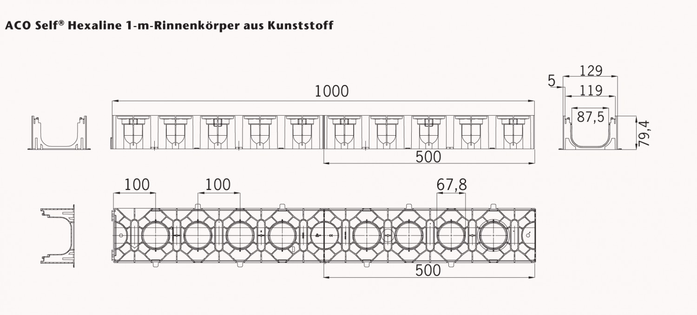 Aco Entwasserungsrinne Mit Gitterrost Stahl Verzinkt 1m Bodenrinne